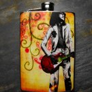 Stainless Steel Flask - 8oz., Rocker Print on Colorful Background