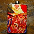 Stainless Steel Flask - 8oz., Group Marching with Mexican Flag Colorful Background