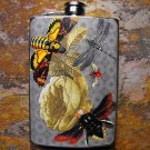 Stainless Steel Flask - 8oz., Bugs and Bees Print on Blue Background