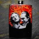 Stainless Steel Flask - 8oz., Black and White Dracula and Woman on Red and Yellow Print Background