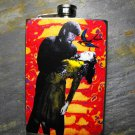 Stainless Steel Flask - 8oz., Wolfman, Woman, and Bird on Red and Yellow Print Background