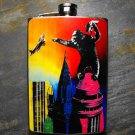 Stainless Steel Flask - 8oz., King Kong on Rainbow Colored City and Background