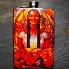 Stainless Steel Flask - 8oz., Woman with Fruit Basket and Colorful Flower Background