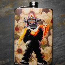 Stainless Steel Flask - 8oz., Robot Carrying Woman on Flower Print Background