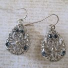 Silver Filigree Design Drops with Clear and Blue Rhinestone Accents