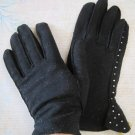 Vintage Ladies Black Leather Gloves with Rhinestone Embellishments