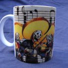 Hand Decorated Ceramic Sublimated Mug 12oz, Day of the Dead Band on Music Print Background