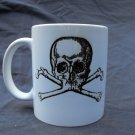 Hand Decorated Ceramic Sublimated Mug 12oz, Black and White Skull and Cross Bones