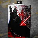 Stainless Steel Flask - 8oz., Darth Vader on Black and White Print Background
