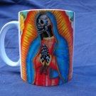 Hand Decorated Ceramic Sublimated Mug 12oz, Day of the Dead Virgin of Guadelupe