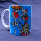 Hand Decorated Ceramic Sublimated Mug 12oz, Day of the Dead Couple on Blue Background