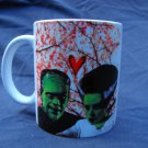 Hand Decorated Ceramic Sublimated Mug 12oz, Frankenstein and His Bride Print