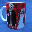 Hand Decorated Ceramic Sublimated Mug 12oz, Day of the Dead Wedding Couple