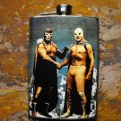 Stainless Steel Flask - 8oz., Mexican Wrestlers Shaking Hands