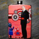 Stainless Steel Flask - 8oz., Mexican Wrestler in Suit with Robots Red Background
