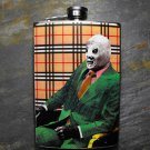 Stainless Steel Flask - 8oz., Mexican Wrestler in Suit on Plaid Background