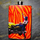 Stainless Steel Flask - 8oz., Mexican Wrestler with Car on Orange Print Background