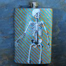 Stainless Steel Flask - 8oz., Standing Skeleton on Lined Print Background