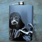 Stainless Steel Flask - 8oz., Darth Vader Print on Grey Background