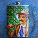 Stainless Steel Flask - 8oz., Retro Print Man on Green Design Background