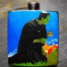 Stainless Steel Flask - 8oz., Frankenstein with Flowers on Blue Background