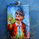 Stainless Steel Flask - 8oz., Retro Man Print with Colorful Background