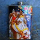 Stainless Steel Flask - 8oz., Horse Print with Colorful Flower Background