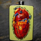 Stainless Steel Flask - 8oz., Colorful Heart on Yellow Background