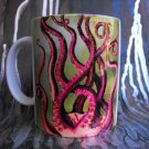Hand Decorated Ceramic Sublimated Mug 12oz, Octopus Legs  on Green Background