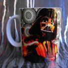 Hand Decorated Ceramic Sublimated Mug 12oz, Darth Varder on Circle Print Background