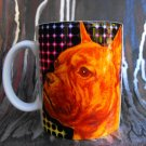 Hand Decorated Ceramic Sublimated Mug 12oz, Bull Dog Face on Colorful Lined Background