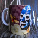 Hand Decorated Ceramic Sublimated Mug 12oz, Mexican Wrestler on Purple Background with Bees