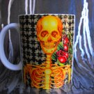Hand Decorated Ceramic Sublimated Mug 12oz, Yellow Skeleton on Black Print Background