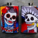 Set of Two Stainless Steel Flask - 8oz., Day of the Dead Man and Woman, Colorful Print