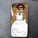 Day of the Dead Bride on Flower Print Background Decorated iPhone 4,5,6 or 6plus Case