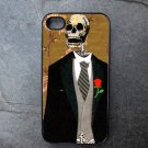Day of the Dead Groom on Tan Background Decorated iPhone4 or iPhone5 Case