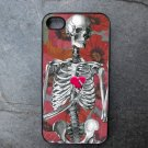 Skeleton with Heart on Flower Print Background Decorated iPhone 4,5,6 or 6plus Case