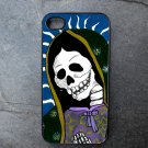 Day of the Dead Virgin Mary on Blue Print Background Decorated iPhone 4,5,6 or 6plus Case