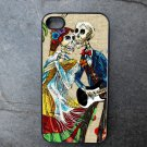 Day of the Dead Couple on Cream Colored Background Decorated iPhone 4,5,6 or 6plus Case