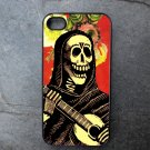 Day of the Dead Musician on Flower Print Background Decorated iPhone 4,5,6 or 6plus Case