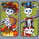 Day of the Dead Bride and Groom on Green Background Decorated iPhone4 or iPhone5 Case