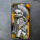 Day of the Dead Man on Yellow Print Background Decorated iPhone4 or iPhone5 Case