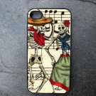 Day of the Dead Couple on Sheet Music Background Decorated iPhone 4,5,6 or 6plus Case
