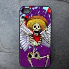Day of the Dead Man with Wings on Purple Background Decorated iPhone 4,5,6 or 6plus Case