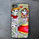 Day of the Dead Couple on Blue Print Background Decorated iPhone 4,5,6 or 6plus Case