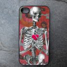Skeleton with Heart on Flower Background Decorated iPhone 4,5,6 or 6plus Case