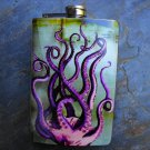 Stainless Steel Flask - 8oz., Octopus Legs in the Sea Print