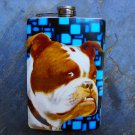 Stainless Steel Flask - 8oz., Bull Dog on Blue Square Print Background