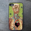 Human Anatomy with Heart on Star Print Background Decorated iPhone 4,5,6 or 6plus Case