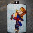 Stainless Steel Flask - 8oz., Mad Hatter on Blue Print Background